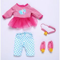 Baby Alive One Size Fits All Outfits - Fancy Dress. Fits dolls Baby Alive dolls sized 12 - 14 inches. Doll sold separately.Your baby will be looking adorable in this outfit. The dress ensemble set includes dress with leggings, ballet slippers and headband. Appropriate for ages 3 and up.