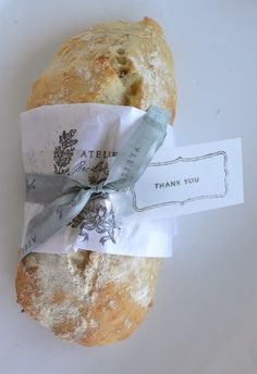 The Ultimate No - Knead Ciabata Bread (recipe is WAY down on the post) - wrapped in printed paper (link to the graphics on The Graphics Fairy site). This would make a great gift!  Atelier Cecilia Rosslee