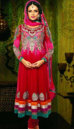 Indian Designer Red Georgette Churidar Kameez Anarkali Dresses! Visit Efello.com for more details.