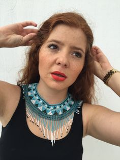 AQUA necklace (Choker) handmade with love by Mexican Huichol artisans =) by ArtesaniaHUICHOL on Etsy https://www.etsy.com/listing/219579455/aqua-necklace-choker-handmade-with-love