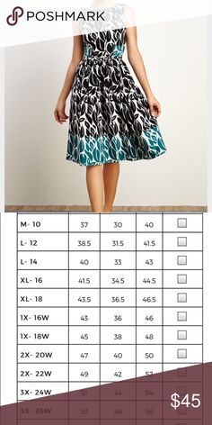 """Eshakti Printed Dress Beautiful black and teal printed dress in new condition. This dress is 44"""" long and has pockets. eshakti Dresses"""