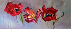 tulips oil painting interior design red grey