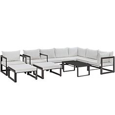 You'll ❤ The Modway Fortuna 10 Piece Outdoor Patio Sectional Sofa Set Brown White Cushions Sofa Furniture, Modern Furniture, Outdoor Furniture Sets, Furniture Stores, Cheap Furniture, Furniture Ideas, San Diego, Coffee Table Dimensions, Contemporary Patio