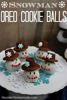 Snowman OREO Cookie Balls :: Recipe and Instructions on HoosierHomemade.com