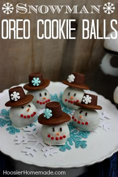 Snowman @OREO Cookie Balls recipe from @hoosierhomemade - With just two ingredients, OREO cookies and cream cheese, plus chocolate for dipping, candy and sprinkles for the face and hat, these cute little Snowman treats would be fun for the kiddos to create as well.