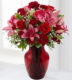 Blooming Romance Valentine's Day Bouquet - 17 Stems - VASE INCLUDED