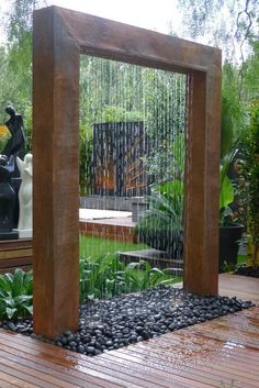 Box/ water/ PVC pipe = awesome waterfall for your garden :)