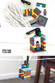 Craft a LEGO zip line activity for a neat physics lesson or cool play time idea. A LEGO zip line activity is a great boredom buster with simple supplies! Lego Club, Lego Design, Lego Toys, Lego Duplo, Legos, Stem Activities, Activities For Kids, Kids Zipline, Lego Challenge