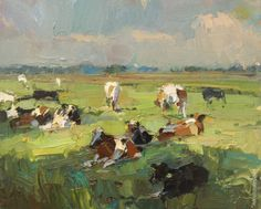 LANDSCAPE Sunny Day Cows Resting - Paintings by Roos Schuring Painter Pleinair