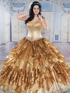 Colorful Quince Dresses - Gold Corset-Top Dress