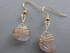Amethyst WIRE WRAPPED Sea Glass Earrings Jewelry, Seaglass Earrings, Beach Glass Dangle Earrings, Sea Glass Jewelry on Etsy, £17.64