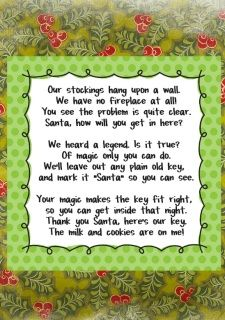 Santa's Key and Tag is in both sizes! Bonus Poem for PRINTING included.  see-Santa's ELF DOOR HERE  Applique' Hoops: 4x4 BOTH files and 5x7 BOTH files.  Santa NEEDS a key!  NOW you have one!  Key  - Tag  and POEM file for printing    -NO refunds on Digital goods. -Our Store sells digital machine embroidery design files…NOT an actual item! -You MUST have an embroidery machine in order to use this file. -Formats Included in the Zip file: DST, HUS, JEF, PES, SEW, VIP, VP3, EXP & XXX