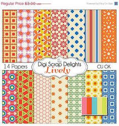 SALE 33 Off Lively Digital Scrapbook Paper in by DigiScrapDelights,
