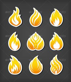 Fire Paper Cut Icons