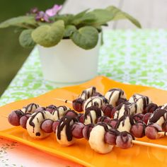 Frozen Grape and Banana Skewers with Chocolate Drizzle from cookbook author, Ellie Krieger.