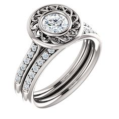 14k white gold round bezel engagement ring and band   Order this from Bauble Patch Jewelers today!  http://baublepatch.jewelershowcase.com/browse/wedding-and-engagement/  or call (616)785-1100