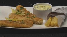 Goujon Fish with Royal Blue Chips and Tartare Sauce