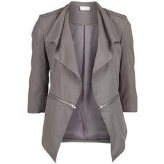 Vila Ston New Blazer ($67) ❤ liked on Polyvore featuring outerwear, jackets, blazers, blazer, coats, tops, december sky, black cotton jacket, three quarter sleeve blazer and cotton blazer