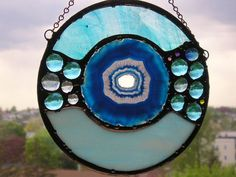 Stained Glass Disc with Agate Turquoise by CreativeSpiritGlass, $49.00