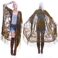 Sheer Silk Burnout Velvet Fringe Hippie Boho by SaldanaVintage