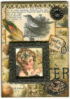Nostalgic Collage': Frame It - Bird'ie Fly'ing ATC