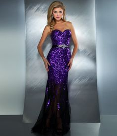 Mac Duggal Prom 2013 - Purple Strapless Sequin Dress With Rhinestones - Unique Vintage - Cocktail, Pinup, Holiday & Prom Dresses. on Wanelo