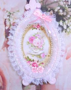 Doilies Crafts, Lace Doilies, Satin Rose, Pink Satin, Shabby Chic Frames, Shabby Chic Decor, Pearl And Lace, Small Rose, Mirror Art