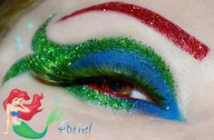 Little mermaid eyes Mermaid Eyes, Mermaid Tale, Mermaid Makeup, Ariel Halloween Costume, Ariel Costumes, Makeup Art, Beauty Makeup, Eye Makeup, Mermaid Under The Sea