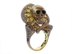 Bochic Diamond Skull Ring in Sterling and 18K