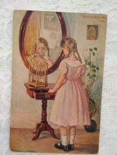 Cage, Antique Art, Graphic, Pink Dress, Bird, Antiques, Painting, Pink Sundress, Antiquities