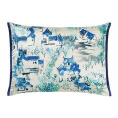 Porcelain and cornflower decorative silk cushion.