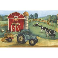 farm scene border  [KIDS-19010] Kids Love Walls Too | DesignerWallcoverings.com ™ - Your One Stop Showroom for Custom, Natural, & Specialty Wallcoverings | Largest Selection of Wall Papers | World Wide Showroom | Wallpaper Printers