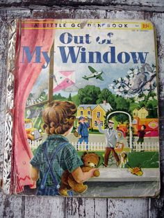 Vintage LGB Little Golden Book, Out of My Window, 1955, sweet pictures. by LittleBeachDesigns