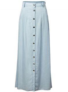 Fashion High Waist A-line Maxi Denim Skirt with Pockets - OASAP.com