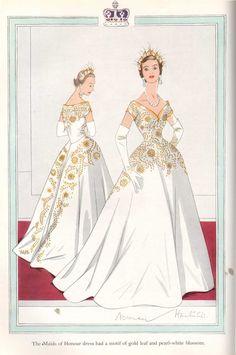 Norman-Hartnell-1953-Coronation-Dress-Maids-of-Honour.
