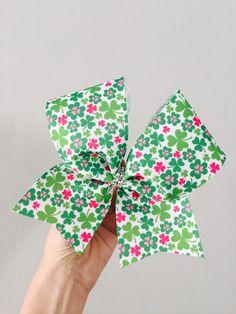 Patricks Day green and pink shamrock cheer bow Big Cheer Bows, Big Bows, Disney Bows, Pretty Hairstyles, St Patricks Day, Etsy Shop, Unique Jewelry, Handmade Gifts, Green