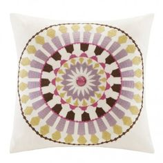 This pillow's pastel colors and embroidered design make it a sweet pick for a living area or sunroom.   $40