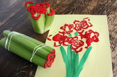 21 Mothers Day Crafts for Kids |  Celery Print Roses | Easy Crafts for Preschoolers