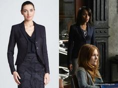 To confront OPA for naming that poor intern as the mistress, Liv wore an Escada pleated cutaway jacket and grey pants.