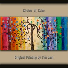 Abstract Painting Fancy Blossom Tree Art, Huge original acrylic painting, Modern deco Impasto Texture landscape painting by tim lam 48x24. $328.00, via Etsy.