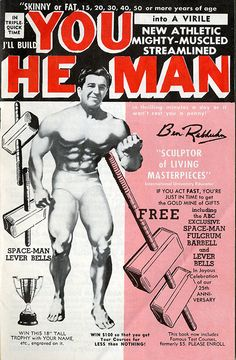This bodybuilding booklet is a wonderful example of pulp typography, ham-fisted airbrushing and untutored layout. Bodybuilding Club, Bodybuilding Motivation, Muscle Magazine, Steve Reeves, Weight Training Workouts, Keep Fit, Gym Humor, Print Magazine, Muscle Men