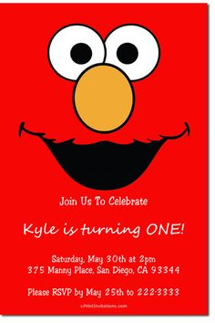 Sesame Street Elmo Birthday Party Invitations - Get these invitations RIGHT NOW. Design yourself online, download and print IMMEDIATELY! Or choose my printing services. No software download is required. Free to try!