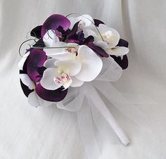 WEDDING FLOWERS - BRIDES BOUQUET 2 BRIDESMAIDS POSIES WHITE PURPLE ...