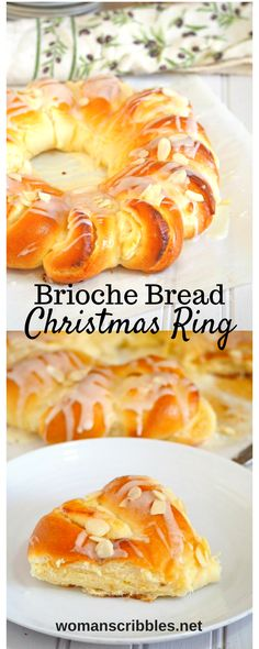 Indulge on this divine Brioche Bread Ring. Be delighted by the soft and buttery brioche that is beautifully assembled and filled with honey stung cream cheese filling, drizzled with sweet cream sugar glaze and studded with tender crisp almonds. Holiday Baking, Christmas Baking, Breakfast Recipes, Dessert Recipes, Fruit Recipes, Brunch, Brioche Bread, Cream Cheese Filling, Mets