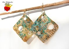 Blue brassnatural oxidizedhand by irinimichopoulou on Etsy Triangle Earrings, Blue Earrings, Patina Metal, Bohemian Jewelry, Brass, Natural, Handmade, Gifts, Etsy