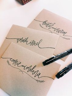 This is what you call custom lettering on an envelope! Calligraphy Letters, Typography Letters, Modern Calligraphy, Calligraphy Envelope, Font Alphabet, Learn Calligraphy, Hand Lettering Envelopes, Chalk Typography, French Typography