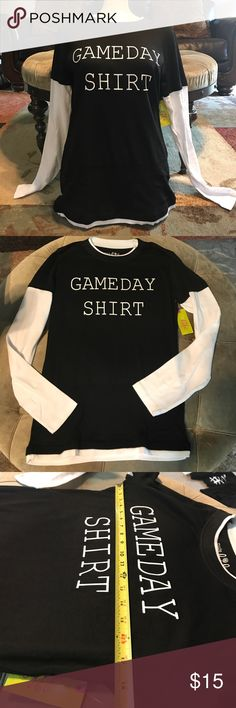 Football Game day tee custom shirt/ size Medium/ Women Custom tee/ long sleeve/ Game day/ size Medium (see measurements in pics) Tops Tees - Long Sleeve
