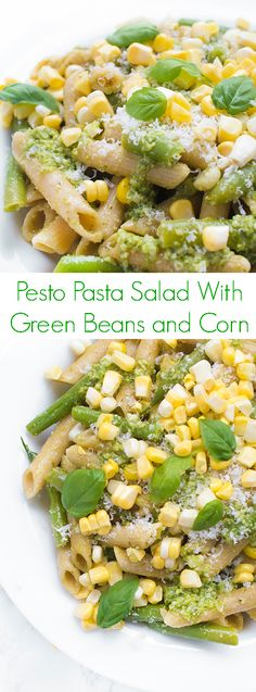 This simple and flavorful pasta salad is made with just a few simple ingredients including whole wheat pasta, pesto, green beans and corn.