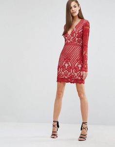 Stylestalker Long Sleeve V Neck Lace Mini Dress