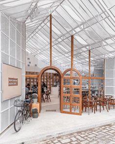Contemporary Interior Design, Shop Interior Design, Retail Design, Store Design, Cafe Restaurant, Restaurant Design, Restaurant Facade, Storefront Signage, Modern Cafe